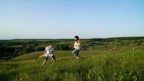 Pareja embarazada con la hija del niño que camina en los campos verdes que tienen tiempo libre metrajes