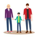Pareja gay en un paseo con su niño stock de ilustración