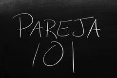 Pareja 101 sur un tableau noir Traduction : 101 Romance Photographie stock