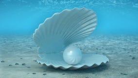 Parel binnen een zeeschelp Mooie parel in shell op de zeebedding Stralen die van zonlicht de glanzen van hierboven doordringen di stock illustratie