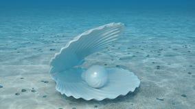 Parel binnen een zeeschelp Mooie parel in shell op de zeebedding Stralen die van zonlicht de glanzen van hierboven doordringen di vector illustratie