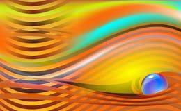 Parel blauwe orb op mooie gestreepte abstracte luxeachtergrond met Oranje vectorillustratie met glanzende juwelen stock illustratie