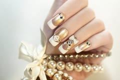 Parel Franse manicure Royalty-vrije Stock Afbeelding