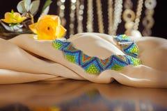 Parels, beadworks op gekleurd, toebehoren Stock Afbeelding