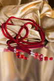 Parels, beadworks op gekleurd, toebehoren Royalty-vrije Stock Fotografie