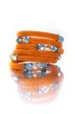 Parels, beadworks op wit Stock Foto's