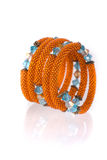 Parels, beadworks op wit Royalty-vrije Stock Foto's