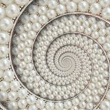 Parels en diamantenjuwelen abstracte spiraalvormige achtergrondpatroonfractal Parelsachtergrond, herhaald patroon Abstracte parel Stock Foto