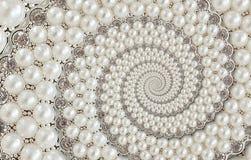 Parels en diamantenjuwelen abstracte spiraalvormige achtergrondpatroonfractal Parelsachtergrond, herhaald patroon Abstracte parel Stock Afbeelding