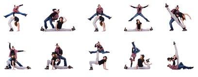 Paren av dansare som dansar moderna danser Fotografering för Bildbyråer
