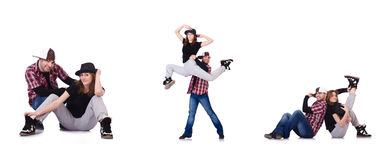 Paren av dansare som dansar moderna danser Arkivfoto