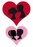 Paren die kussen,   Royalty-vrije Stock Afbeelding