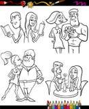 Paren geplaatst beeldverhaal kleurende pagina Stock Foto's