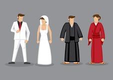 Paren in het Westelijke Kostuum van het Stijlhuwelijk en Japanse Traditiona vector illustratie