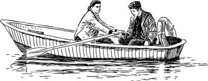 Paren i fartygturen vektor illustrationer
