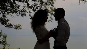 Paren såg de i himlen Stående direkt solljus lager videofilmer