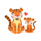 Parent animal de Tiger Dad In Bow Tie et son illustration colorée orientée de condition parentale de veau de bébé avec la faune d Images libres de droits