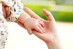 Parent and baby holding hand Stock Photo