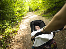 Parent and Baby Taking a Walk in the Woods Royalty Free Stock Image