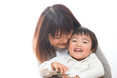 Parent and child. The child who was embraced by a mom Stock Photo