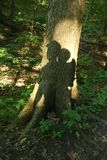 Parent and child backpacking together in the woods. Nurturing father and son bonding Royalty Free Stock Photo