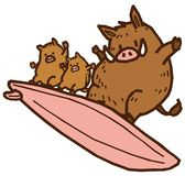Parent and child of a boar riding a surf. stock illustration