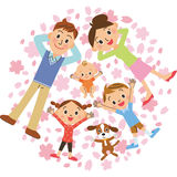 Parent and child and cherry tree stock illustration
