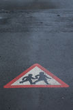 Parent & Child Crossing  Sign on Road Royalty Free Stock Images