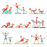 Parent And Child Doing Sportive Exercises And Sport Training Together Having Fun Series Of Scenes. Cartoon Characters Enjoying Physical Activity With Kids Stock Photos