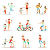 Parent And Child Doing Sportive Exercises And Sport Training Together Having Fun Set Of Scenes. Cartoon Characters Enjoying Physical Activity With Kids Doing Stock Photography