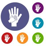 Parent and child hands together icons set Stock Image