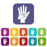 Parent and child hands together icons set Stock Photography