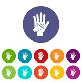 Parent and child hands together set icons Stock Photography