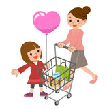 Parent-child while shopping Royalty Free Stock Photos
