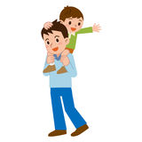 Parent and child to a piggyback Stock Photography
