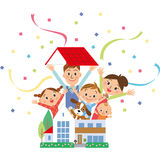 Parent and child who jump out of a house Royalty Free Stock Images