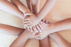 Parent and children holding hands together Stock Image