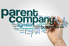 Parent company word cloud. Concept on grey background Royalty Free Stock Photos