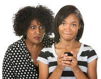 Parent Eavesdropping Teen Girl Stock Photos