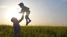 Parent engañar con el hijo en el prado, papá feliz con el muchacho que juega en juego del campo, del papá y del hijo del fondo en
