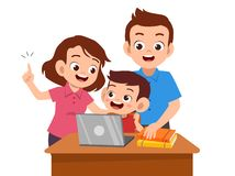 Free Parent Help Teach Kid Illustration Stock Image - 158023391
