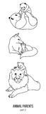 Parent and kid vector animals coloring page part 2 Stock Image
