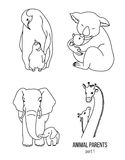 Parent and kid vector animals coloring page part 1 Royalty Free Stock Image