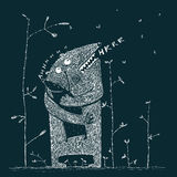 Parent monster hugs cute little child creature singing song at night Royalty Free Stock Photography
