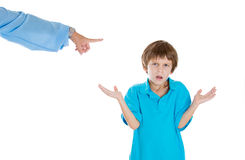 Parent pointing at child to go to room for misbehaving while kid asks what did i do?. Closeup portrait of parent pointing at child to go to room for misbehaving Royalty Free Stock Photography
