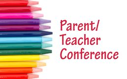 Parent Teacher Conference message with colored watercolor pencils vector illustration