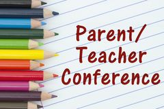 Parent-Teacher Conference. Pencil Crayons with loose leaf paper and text Stock Image