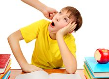 Naughty and Lazy Schoolboy. Parent threaten Son for a Learning Isolated on the White Background royalty free stock images