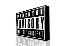 Parental advisory. The parental advisory sign generated by computer and isolated on a white background Royalty Free Stock Photography