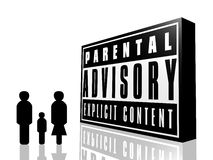 Parental advisory and family. The parental advisory sign and a family generated by computer and isolated on a white background Stock Photography